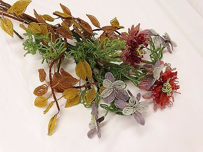 Lot of Vintage FRENCH BEADED FLORAL BOUQUET Hand Made Glass Beads Wired