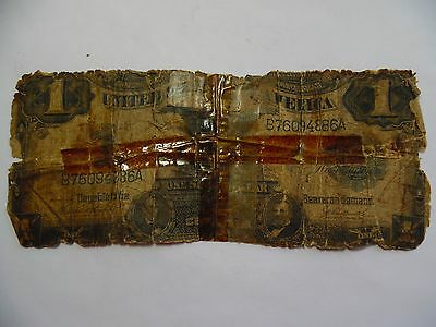 1899 $1 Large note Black Eagle Silver Certificate - Heavily damaged