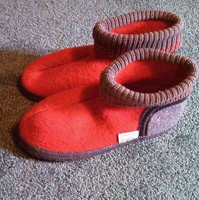 WESENJAK Boiled Wool Slippers Red and Gray size 43 - Used