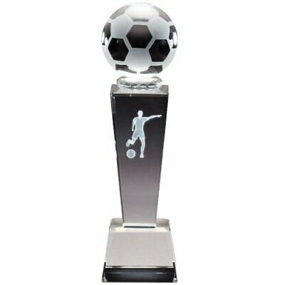 "Female Soccer Sports Crystal 8.75"" Trophy with 4 lines of custom text"