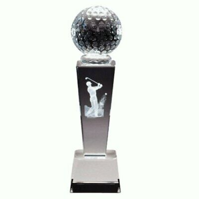 "TrophyPartner 8.75"" Male Golf Sport Crystal with 4 Lines of Custom Text"