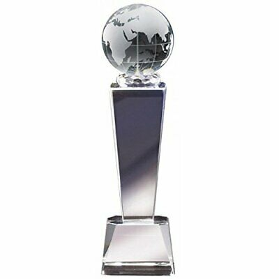"8.75"" Globe Crystal Trophy with 4 lines of custom text"