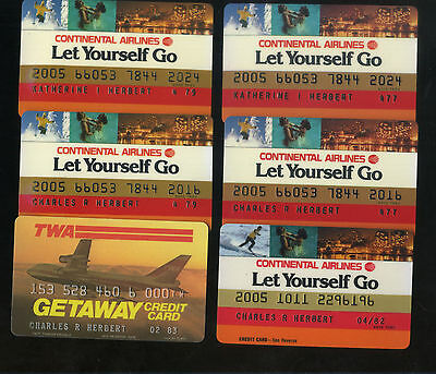 Vintage Lot Of 5 Airline Credit Cards Unsigned Continental Twa Expired 1970-1980