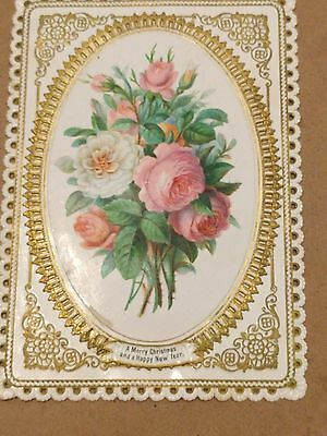 """#Original 1800's Victorian Paper Lace Card """"Merry Christmas"""" 3.5 x 5"""""""