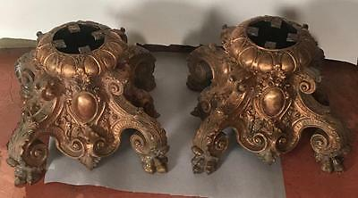 Heavy Pair Baroque Brass Architectural Bases Garden Bench Light Fixture Table