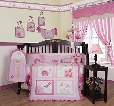Geenny Pink Dragonfly 13-Piece Crib Bedding Set Baby Girl's Bedroom Decor