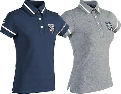 Equi-Theme EQUIT'M Ladies Jersey Polo Shirt Short Sleeve Navy Or Grey 962702