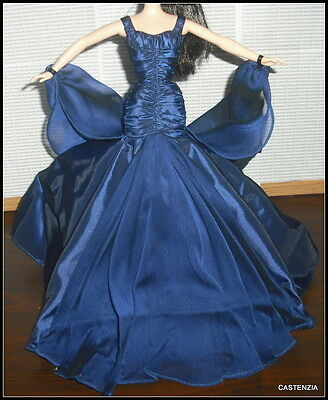 Outfit Mattel Barbie Doll Queen Of Sapphires Taffeta Gown Chiffon Wrap & Shoes