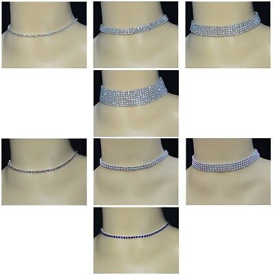 Choker Crystal Diamante Rhinestone Necklace Wedding Women Party Silver Chain