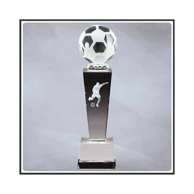 "Male Soccer Sports Crystal 8.75"" Trophy with 4 lines of custom text"