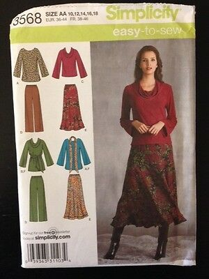 Simplicity sewing pattern 3568 Women's Tops Skirts Trousers  Size 10-18 NEW