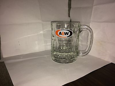 """A&W Root Beer Mug 4.5"""" Tall  Heavy Glass Stein Vintage Oval Logo"""