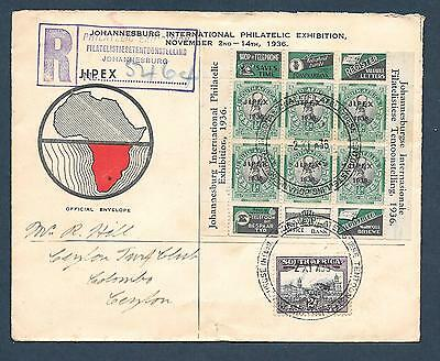 """1936 Africa """" Pair Of Reg'd Covers """" ~ Johannesburg Exhibition ~ Used"""