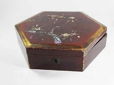 Vintage Japanese lacquered box papier mache mother of pearl inlay hexagon