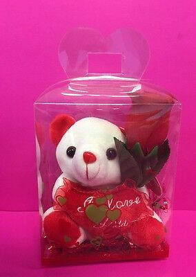 """WHITE TEDDY BEAR 5"""" I Love You-With Clear box & Red rose