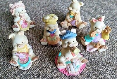Lot of 6 Piggy Babies Figurine Resin Hand painted statues farm animals Pigs