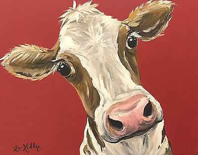 "Cow Art Print from original cow on canvas painting, 8x10"" signed by artist"