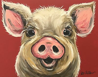Pig Art Print from original canvas pig painting 8x10, signed by artist