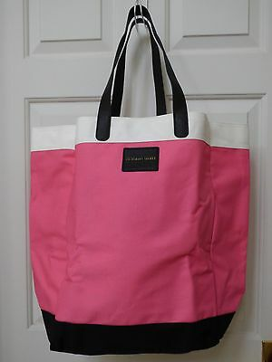 Victoria's Secret Canvas Tote Shopping Beach Travel Bag Pink Black Brand New