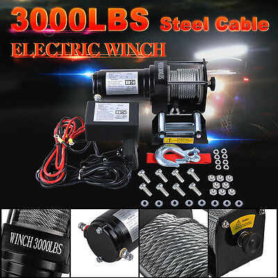 Electric Winch 3000LBS/1360kg Wireless Remotes Steel Cable 12V ATV SUV 4WD Boat