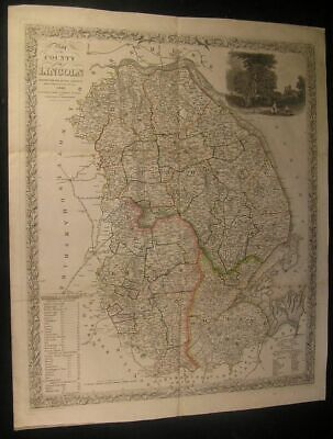 Lincoln county England U.K. Britain by W. White 1841 antique map view vignette
