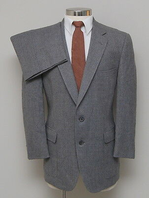 Vintage Mens 40R Austin Reed 2 Piece Grey/Brown Wool English Tweed Suit