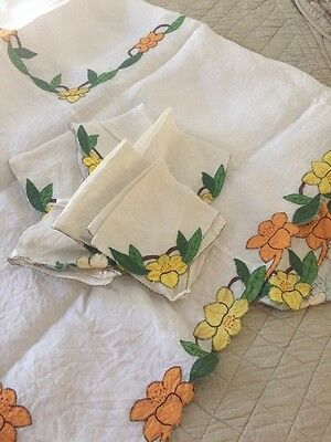 Handmade Vintage linen tablecloth with 6 napkins