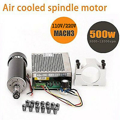 0.5KW 500W CNC Air Cooled Milling Motor Spindle + Converte + 12PCS Collet+ Clamp