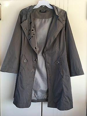 Womens Manteau Olive Green Removable Hood Press Silver Holes Jacket Size M