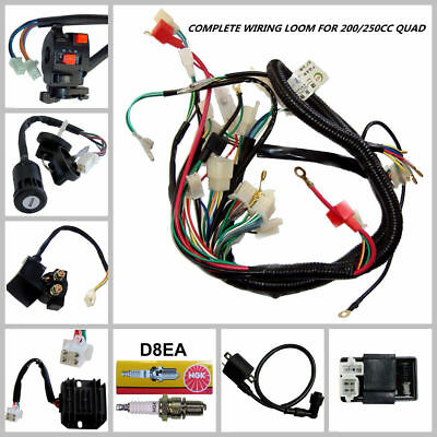 Complete Wiring Harness Loom 150/200/250/300cc Quad Buggy Electric Start Engine