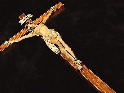 Anri Wood carved Catholic Holy Passion trinity Crucifix cross of Jesus Christ