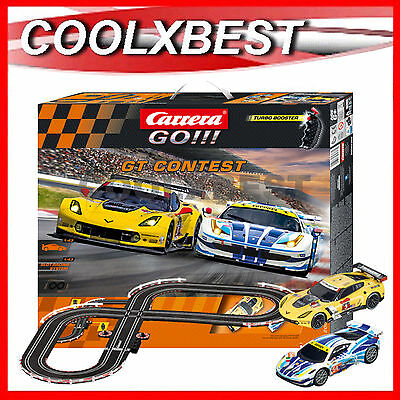 NEW CARRERA GO GT CONTEST SLOT CAR RACING SET FERRARI v CORVETTE TURBO BOOST