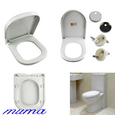 Luxury D Shape Soft Close Quick Release White Toilet Seat With Top Fixing Hinges