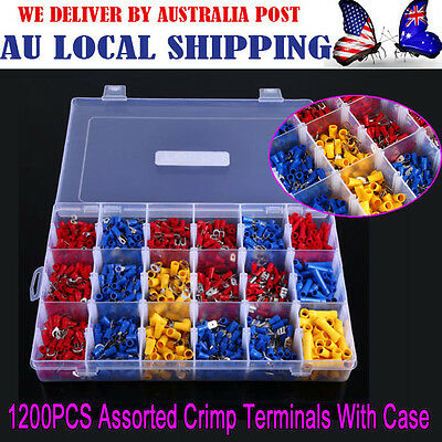 Electrical Wire Connector Insulated Crimp Terminals Spade Assorted Set 1200PCS G