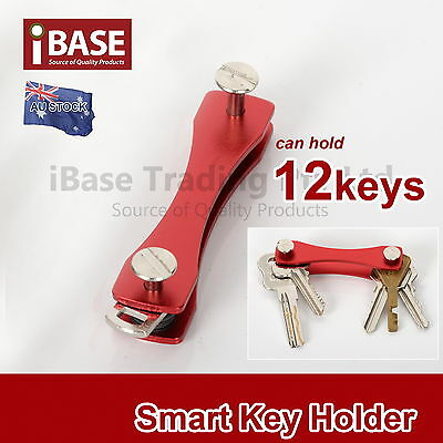 Smart Key Compact Genie Holder Organiser Pocket Size Ring 12 Keys Aluminium Red