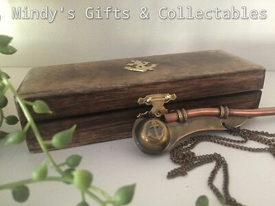 Brass Boatswain Pipe Whistle On Chain In Wooden Box Nautical Maritime Navy