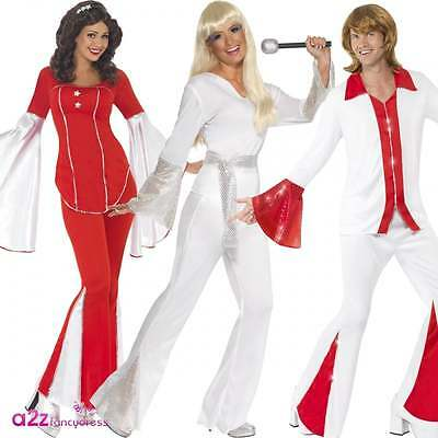 Adult 70s 1970s Super Trooper Disco Flares Adult Fancy Dress Costume Outfit