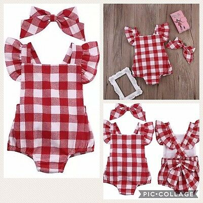 SALE BabyGirl Boutique Summer Romper Outfit Set Headband Red Playsuit Cake Smash