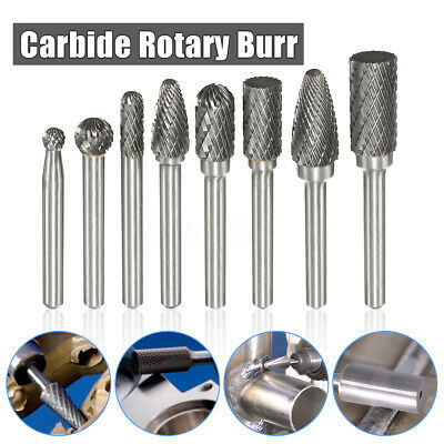 "8X  1/4"" Double Cut Carbide Rotary BurrShank File Power Tools Double Cut Set"