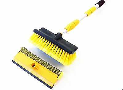 Hose fed wash brush extending pole 3M squeegee telescopic window car cleaning