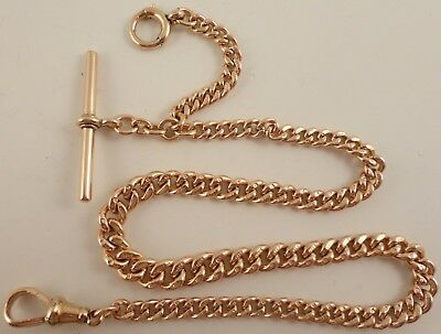 Antique 9ct Rose gold albert watch guard chain Weighs 36.5 grams 14.75 inches