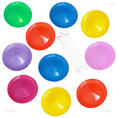 10 Spinning Plates & Sticks, Fun Party Pack for Circus Games, Young & Old!