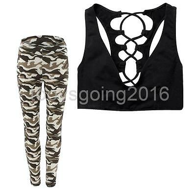 Women Yoga Suits Sport Sets Fitness Clothes for Dancing Sports Camouflage M