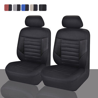 CAR PASS  Breathable Universal Fit  2 front Car Seat Covers  full black color
