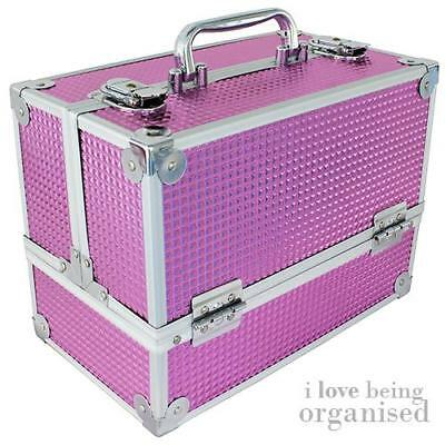 Large Pink Holographic Makeup Organiser Train Case w/ 6 Folding Trays