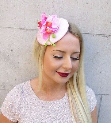 Baby Light Pink Velvet Orchid Flower Fascinator Hat Races Ascot Headpiece 2562