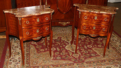 Best French Marquetry King Wood Marble Top Night Stands Tables C1910 Restored!