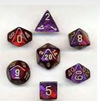 Set 7 dadi CHESSEX Gemini Purple/Red w/Gold Viola/Rosso Oro 26426 Dice CHX