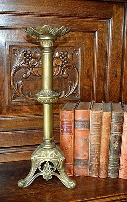 Antique French Brass Altar Candlestick Large Church Candle Holder