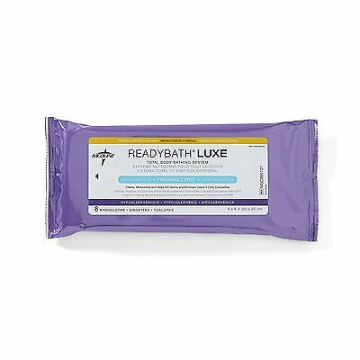 Medline Ready Bath Unscented Antibacterial Body Cleansing Cloth Thick Wipes